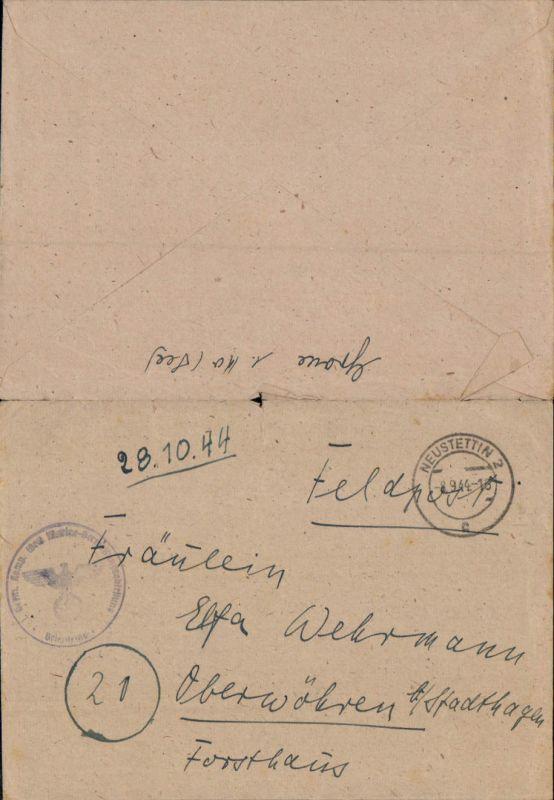 602663,WK 2 Feldpost Neustettin Marinevermessungsabteilung n. Obernwöhren Stadthagen