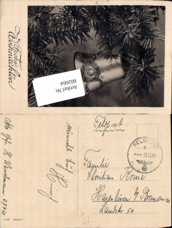 602664,WK 2 Feldpost 07421 n. Hasenbüren Bremen auf AK Weihnachten Glocke