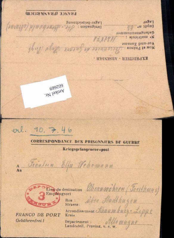 WK 2 Kriegsgefangenenpost POW St. Menehould Marne Obernwöhren Stadthagen Schaumburg Lippe