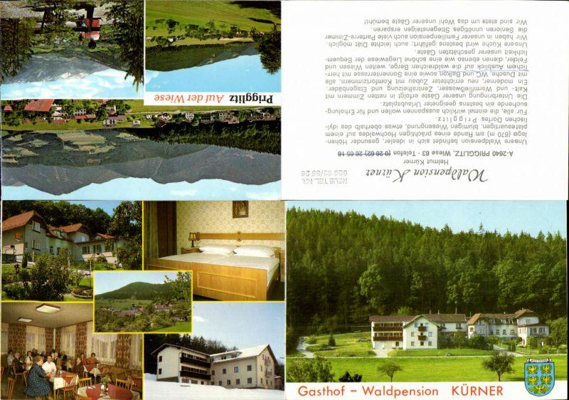 600590,3 tlg. Klapp-AK Gasthof Kürner Prigglitz Wiese b. Gloggnitz