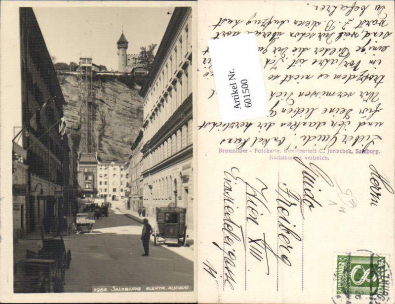 601500,Foto-AK Salzburg Elektrischer Aufzug Kutsche Hotel Krone