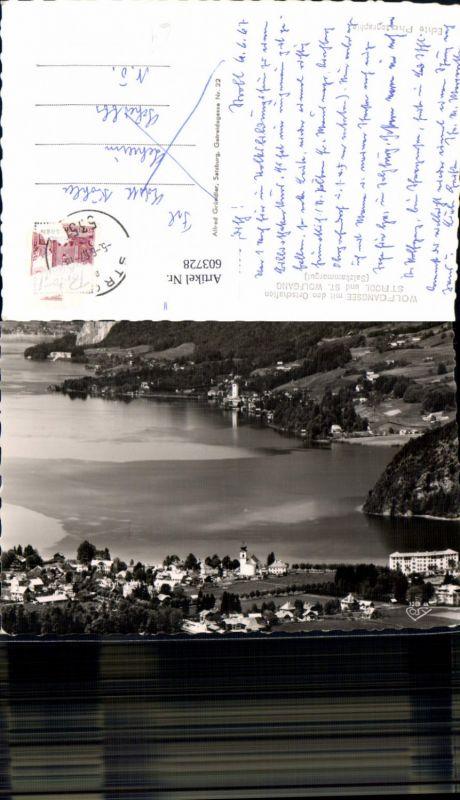 603728,Foto Ak Wolfgangsee m. Strobl u. St Wolfgang i. Salzkammergut