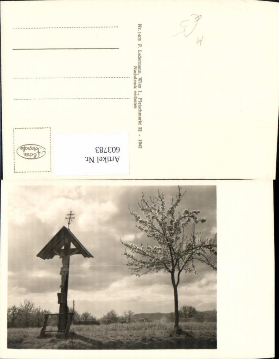 603783,Foto Ak Wegkreuz Baumblüte Bildstock Flurkreuz Religion