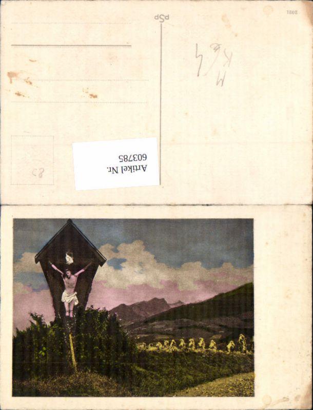 603785,Künstler Ak Wegkreuz Bildstock Flurkreuz Religion