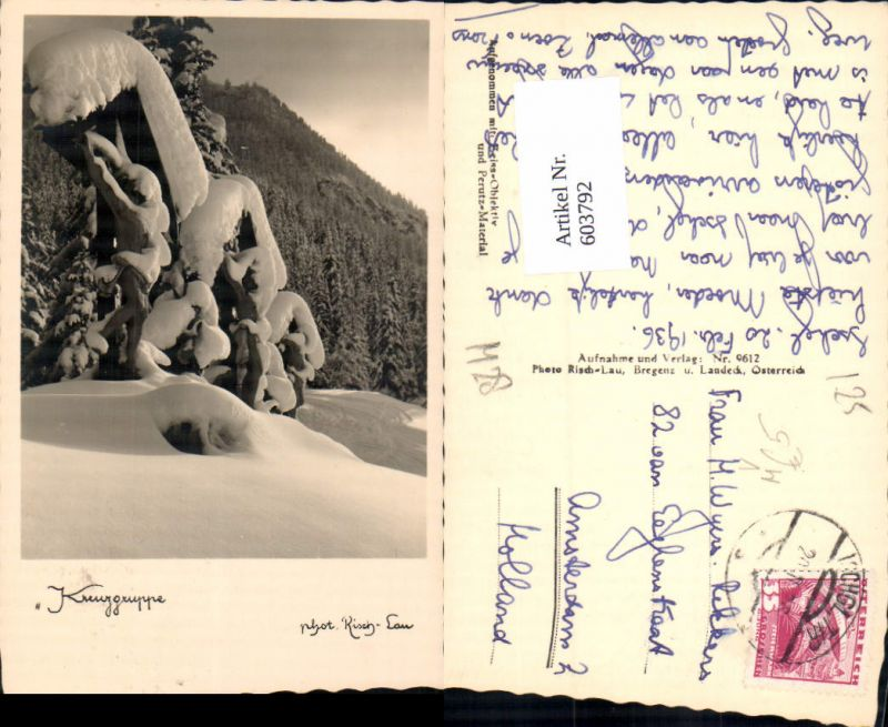 603792,Foto Ak Kreuzgruppe Winteransicht Ischgl Bildstock Flurkreuz Religion pub Risch-Lau 9612