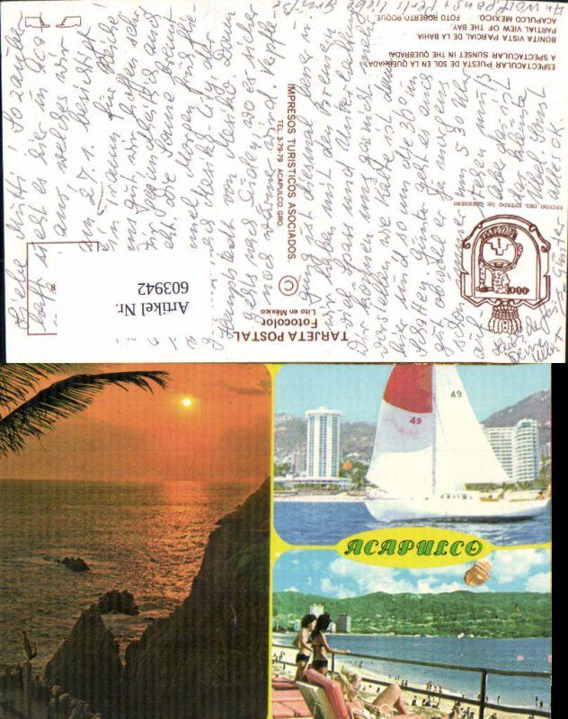 603942,Mehrbild Ak Mexiko Mexico Acapulco Bay Segelboot