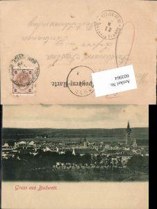 603964,Gruss aus Budweis Budejovice 1899 n. Schwarzenberg Oberösterreich Stempel