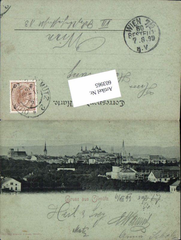 603965,Mond Lithographie Gruß aus Olmütz Olomouc 1899 pub Römmler & Jonas 6821 bmg