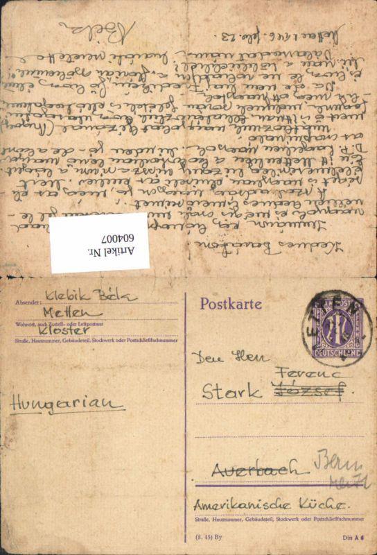 604007,Metten Kloster n. Auerbach Bernreith Ganzsache 1923