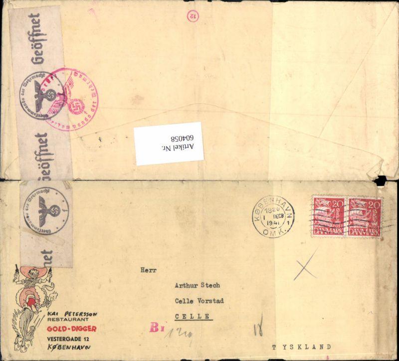 Feldpost Dänemark Kopenhagen Kobenhavn n. Celle geöffnet Zensur zensuriert Oberkommando der Wehrmacht