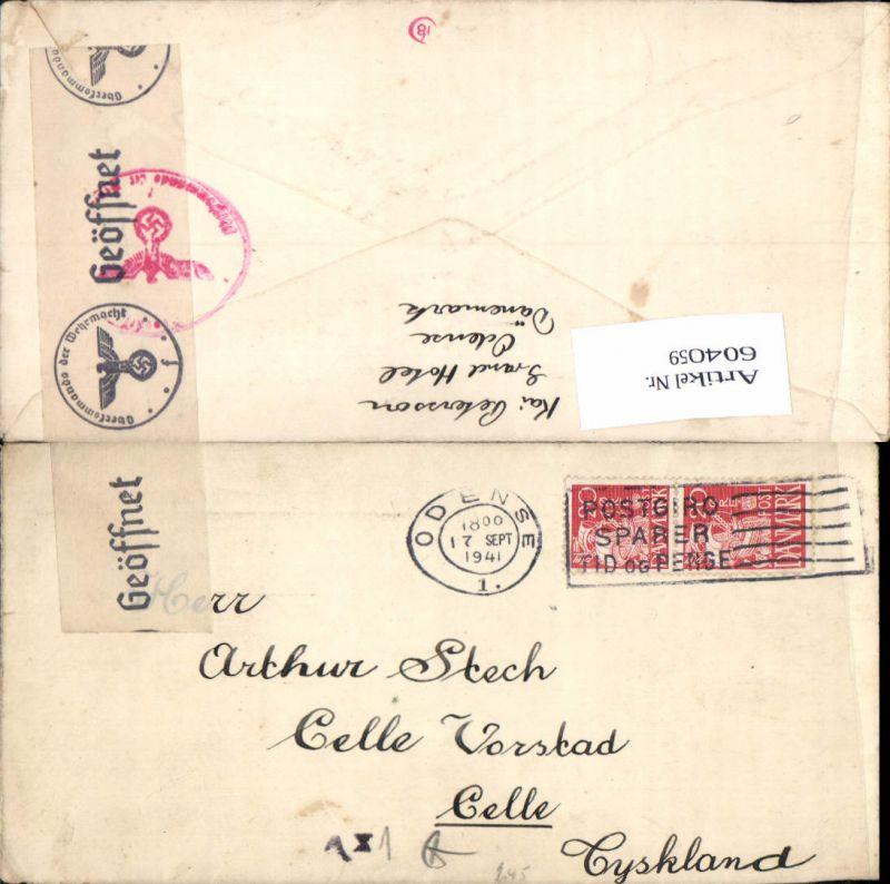 Feldpost Dänemark Odense n. Celle Geöffnet zensuriert Zensur Oberkommando der Wehrmacht 1941