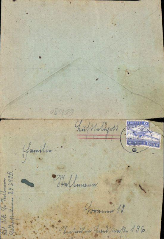 Luftfeldpost Feldpost 1942 24290 B n. Bremen Stab I u. 1.-3. Batterie Artillerie-Regiment  291