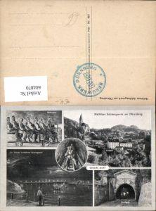 604870,Mehrbild Ak Hallein Salzbergwerk a. Dürrnberg Stollenfahrt Ausfahrt Bergwerk