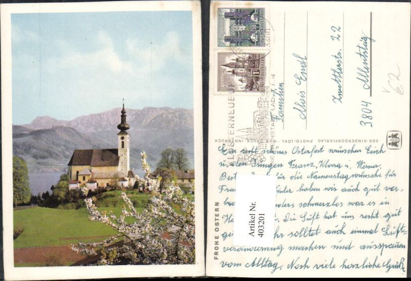 403201,SOS Kinderdorf Ostern Attersee am Attersee Kirche Bergkulisse