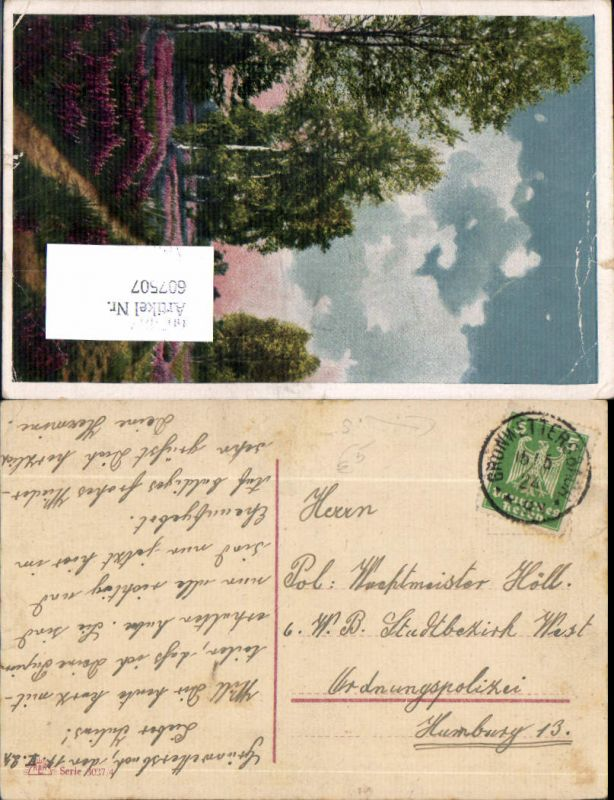 607507,Stempel Grünwettersbach Karlsruhe Baden 1924 n. Hamburg