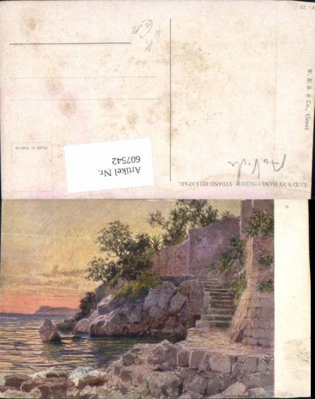 607542,Künstler AK Ludwig Hans Fischer Strand b. Lapad Dubrovnik Ragusa Croatia