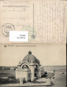 606521,Ostende Ingang van het Palace Hotel aan het Strand Belgium