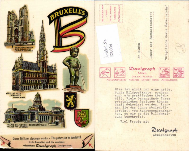 606699,DECALPOSTCARD Abziehkarte Brüssel Bruxelles Belgium