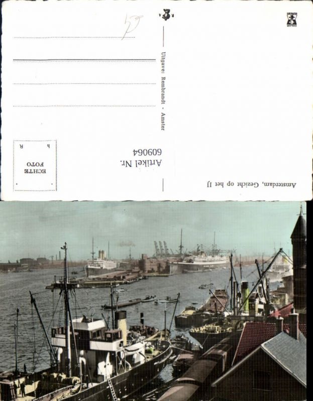 609064,Foto Ak Amsterdam Gezicht op het IJ Schiffe Dampfer Hafen Netherlands