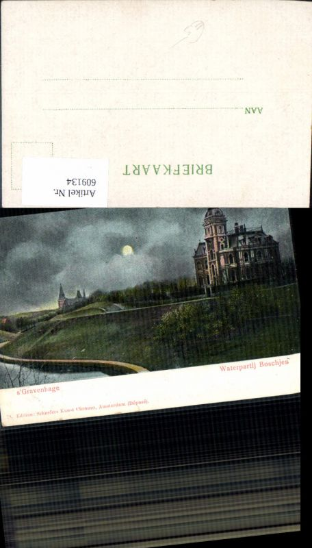 609134,´s Gravenhage Waterpartij Boschjes Mondschein Mond Netherlands