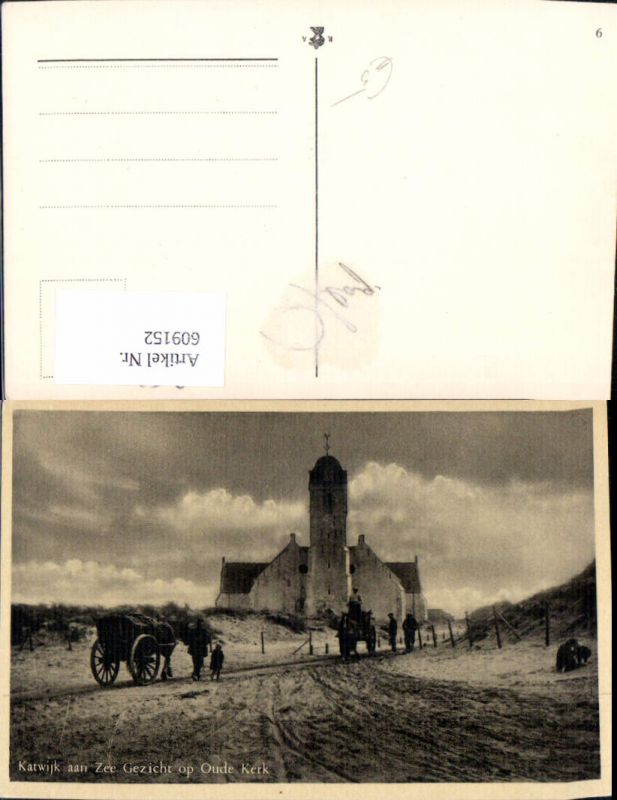 609152,Katwijk aan Zee Gezicht oop Oude Kerk Kirche Pferdefuhrwerk Netherlands