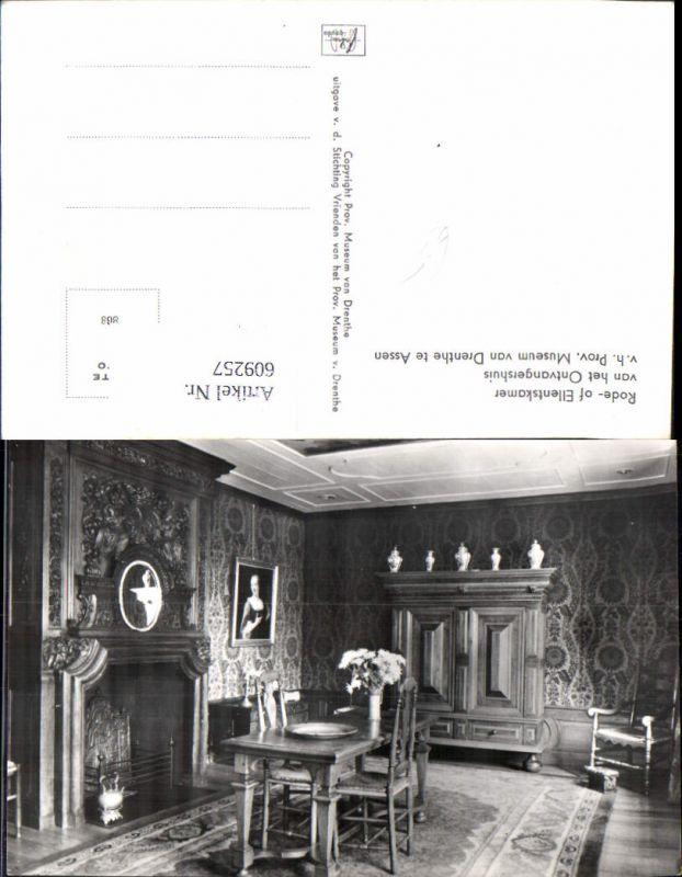 609257,Foto Ak Assen Drente Museum Rode- of Ellentskamer van het Ontvangershuis Netherlands