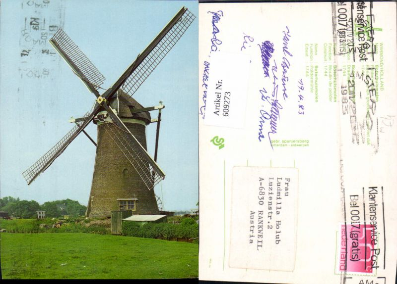 609273,Warmond Holland Boterbuismolen Windmühle Netherlands
