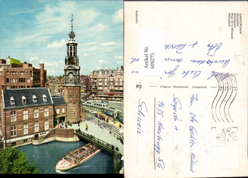 609275,Amsterdam Muntplein Münzplatz Schiff Brücke Netherlands