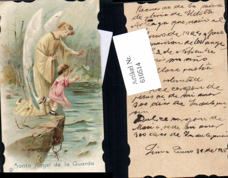 610514,Andachtsbild Heiligenbildchen Engel Schutzengel Kind 0