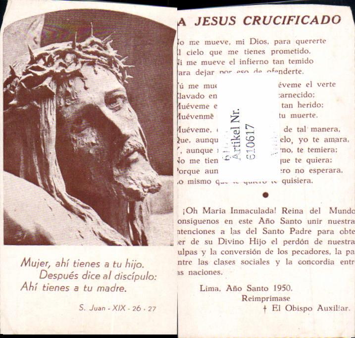 610617,Andachtsbild Heiligenbildchen Jesus Dornenkrone Lima Peru
