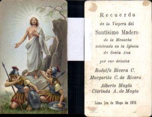 610621,Andachtsbild Heiligenbildchen Jesus Auferstehung Soldaten Römer Lima Peru