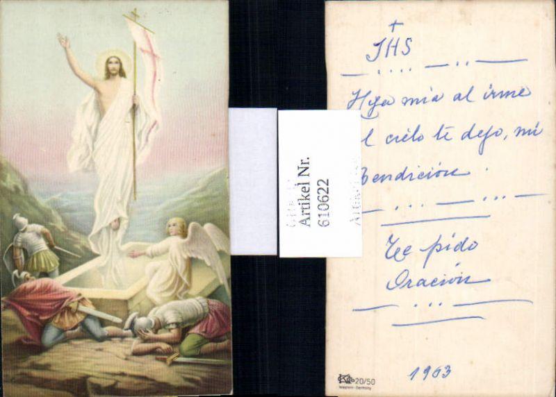 610622,Andachtsbild Heiligenbildchen Jesus Auferstehung Soldaten Römer