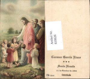 610626,Andachtsbild Heiligenbildchen Jesus Kinder Apostel Santa Ursula Peru