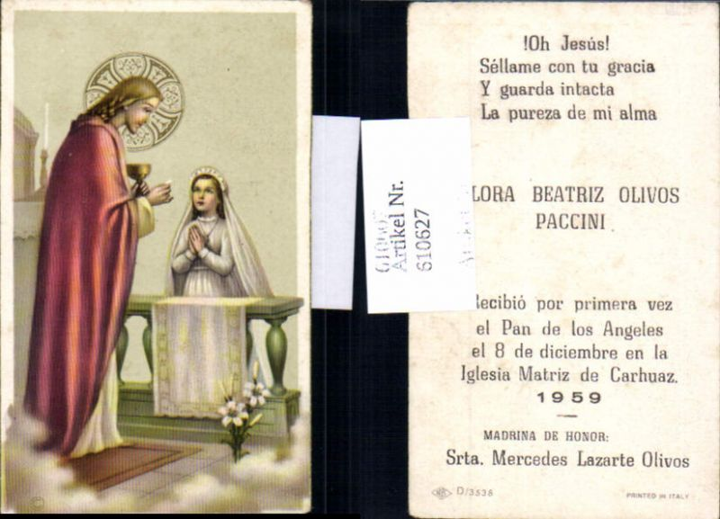 610627,Andachtsbild Jesus Kommunion Matriz de Carhuaz Peru