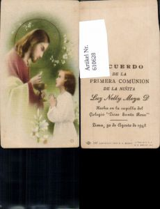 610628,Andachtsbild Heiligenbildchen Jesus Kommunion Lima Peru