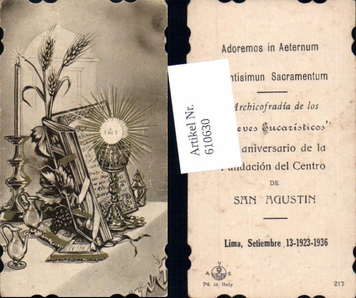 610630,Andachtsbild Heiligenbildchen Kelch Lima Peru