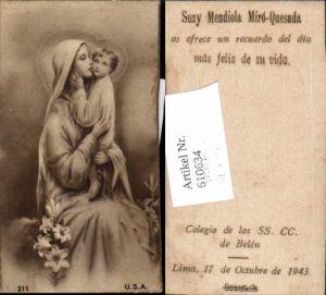 610634,Andachtsbild Maria Jesus Lima Colegio de los SS. CC. De Belen