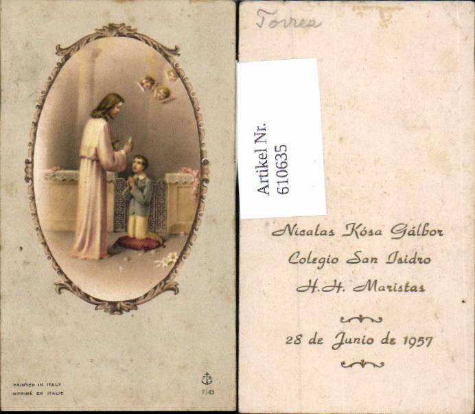 610635,Andachtsbild Heiligenbildchen Jesus Kommunion San Isidro Peru