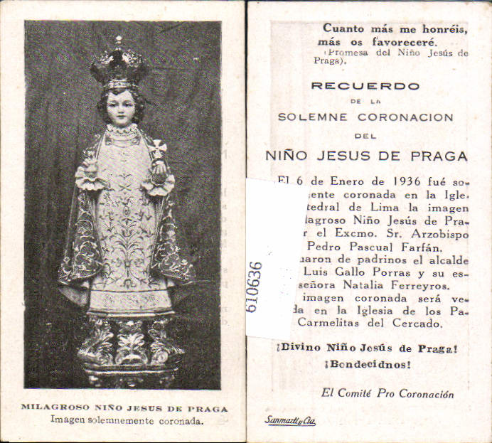 610636,Andachtsbild Heiligenbildchen Jesus de Praga Peru