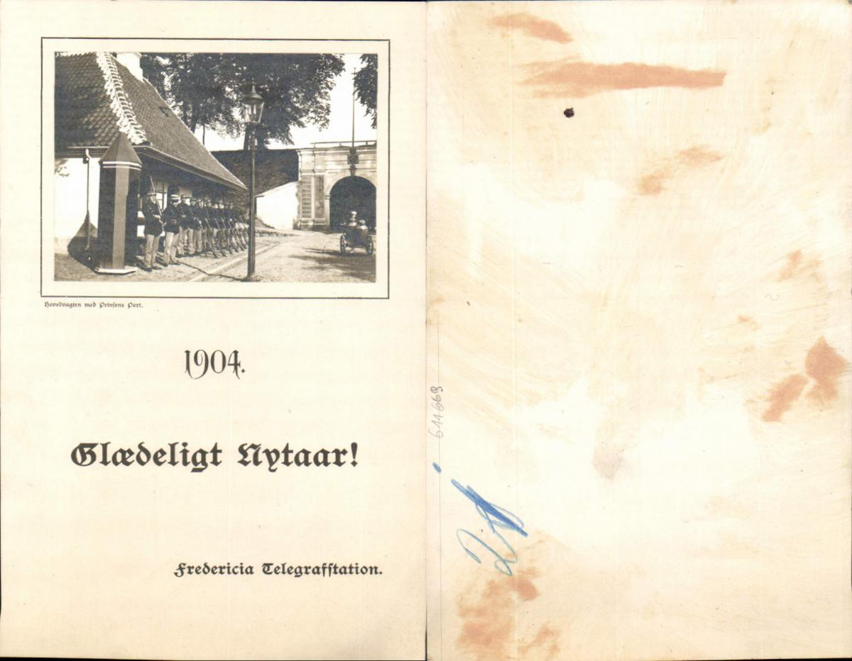 611669,Riesen-AK Telegraphenstation Fredericia Hovedvagten Prinsens Port 1904
