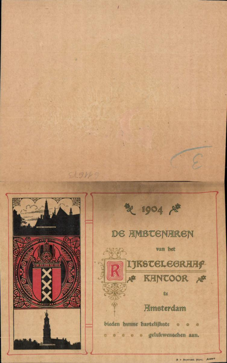 611673,Riesen-AK Amsterdam De Ambtenaren Telegraphenstation