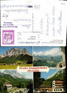 611876,Mehrbild Ak Ehrwald Talstation m. Alpenhotel Campingplatz Tiroler Zugspitzbahn Seilbahn Gondel