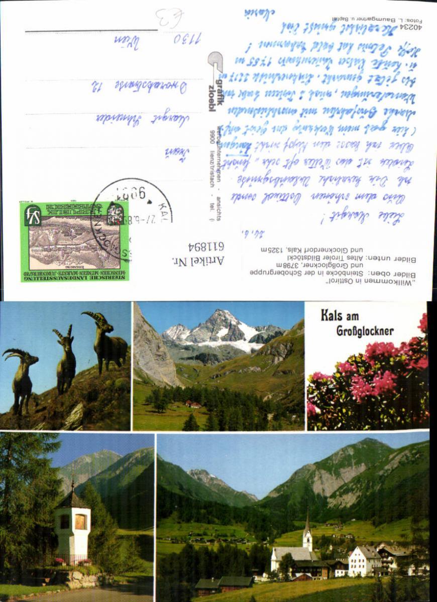 611894,Mehrbild Ak Kals a. Großglockner Steinböcke Schobergruppe Alter Bildstock