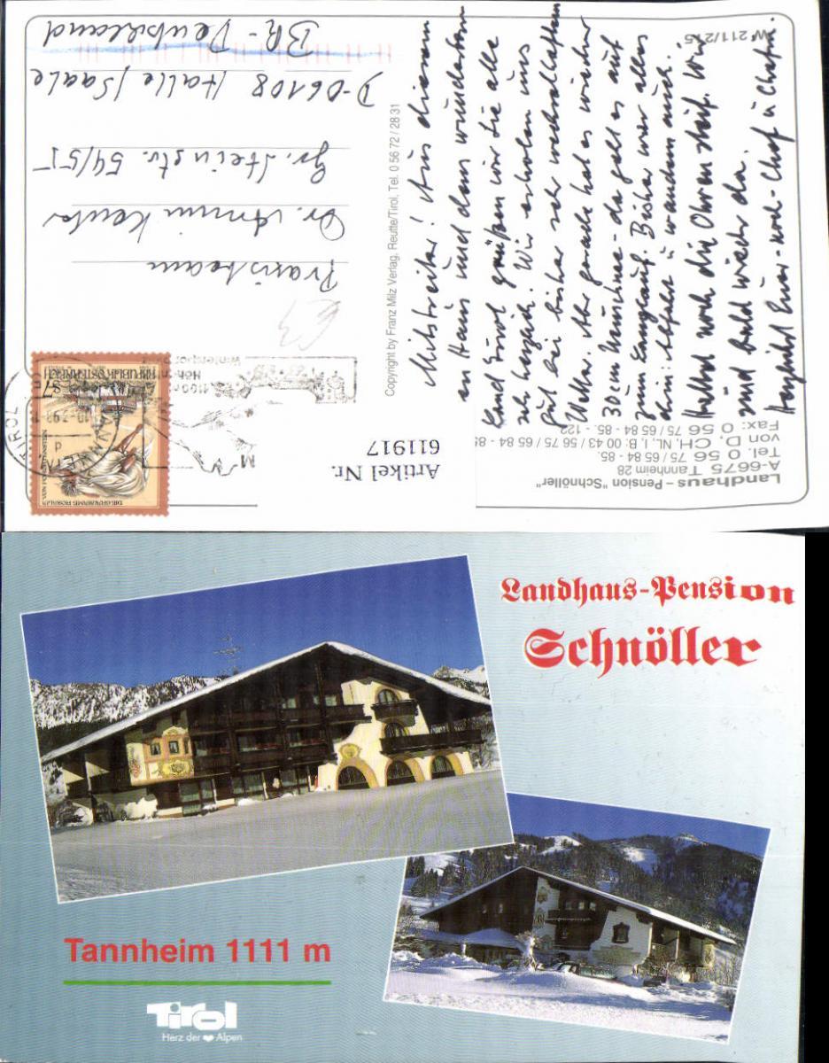 611917,Mehrbild Ak Tannheim Landhaus Pension Schnöller Winteransicht