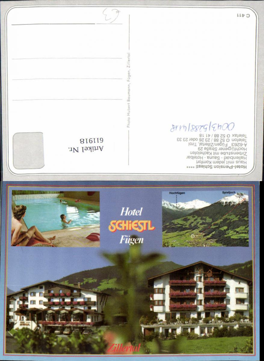 611918,Mehrbild Ak Fügen Zillertal Hotel Pension Schiestl Hallenbad Totale