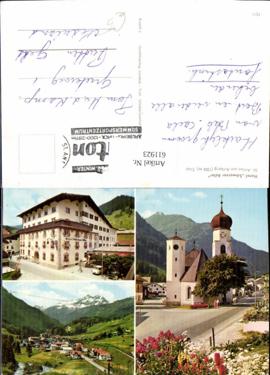 611923,Mehrbild Ak St Anton a. Arlberg Hotel Schwarzer Adler Kirche
