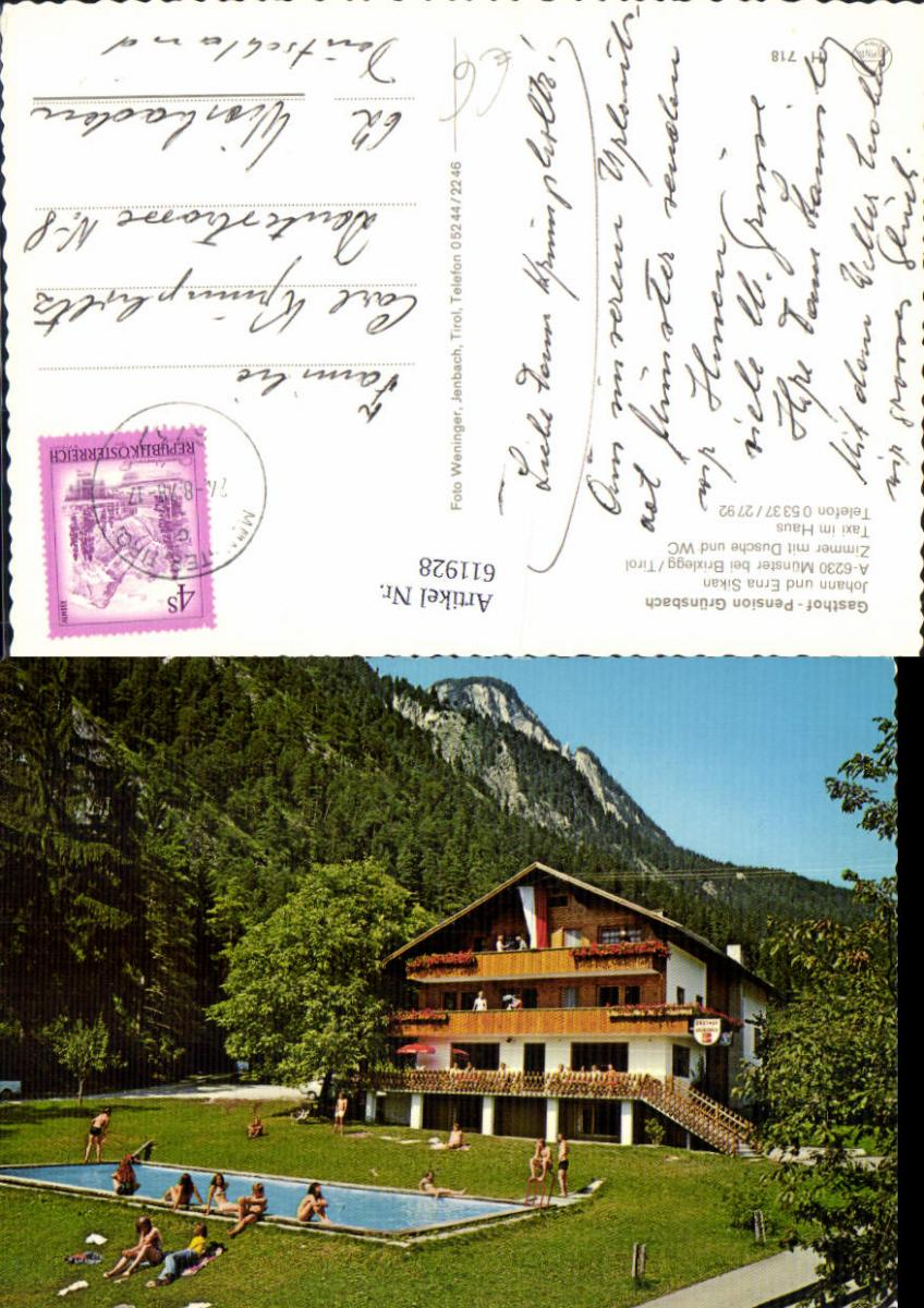 611928,Münster b. Brixlegg Tirol Gasthof Pension Grünsbach Schwimmbad