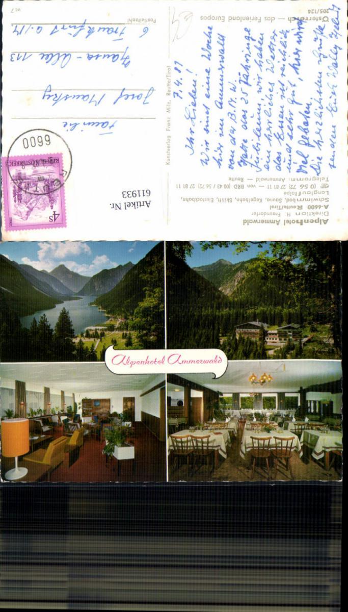 611933,Mehrbild Ak Reutte Tirol Alpenhotel Ammerwald Speisesaal Ansicht