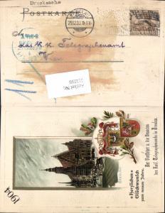 612099,Präge Passepartout Lithographie Breslau Wroclaw Wappen Telegraphenamt Vorsteher Passepartoutkarte