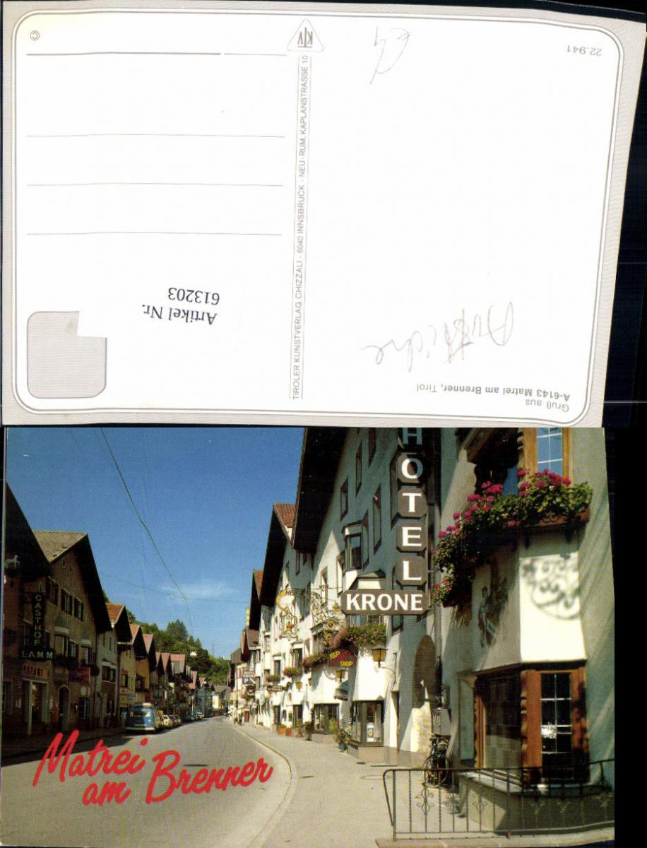 613203,Matrei a. Brenner Dorfmotiv m. Hotel Krone Gasthof Lamm